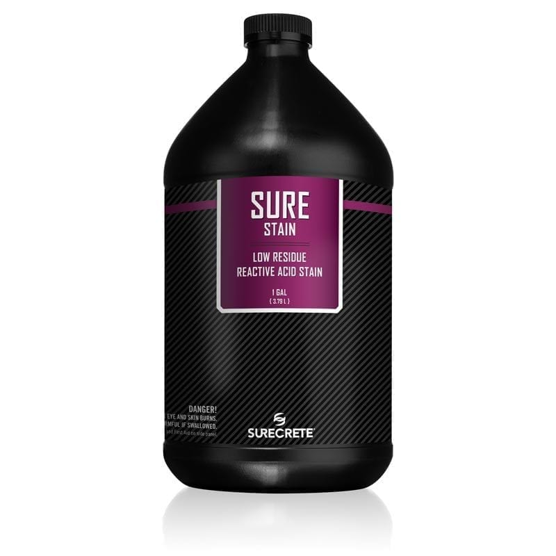 SureCrete Authorized Distributor SureStain™ is a low residue concrete acid stain that comes in 8 earth-tone colors