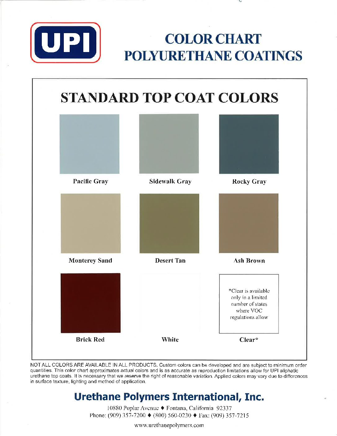 UPI URETHANE SYSTEMS COLOR CHART